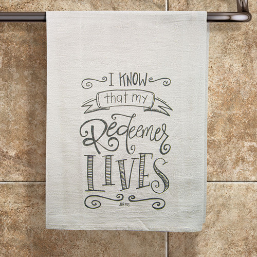 "Job 19:25 ""My Redeemer Lives""  Tea Towel"