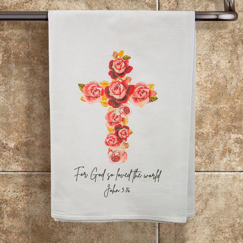 """John 3:16 """"God So Loved the World"""" Towel"""