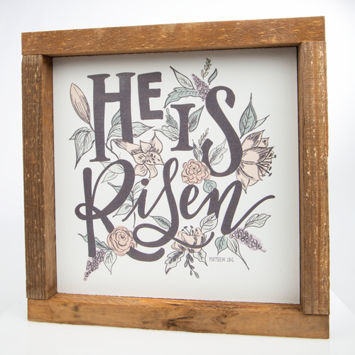 "He Is Risen Wall Art Frame | 8"" x 8"""