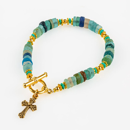 Roman Glass Bracelet with Cross Pendant