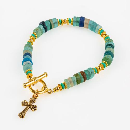 Roman Glass Bracelet with Cross Pendant