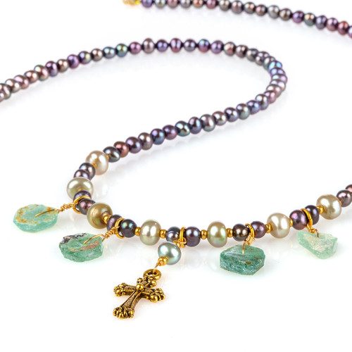 Roman Glass Pearl Necklace with Cross Pendant
