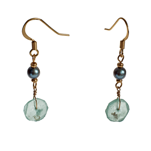 Roman Glass Pearl Earrings