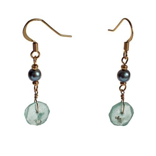 Roman Glass Pearl Earrings