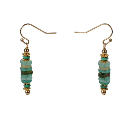 Roman Glass Disk Earrings