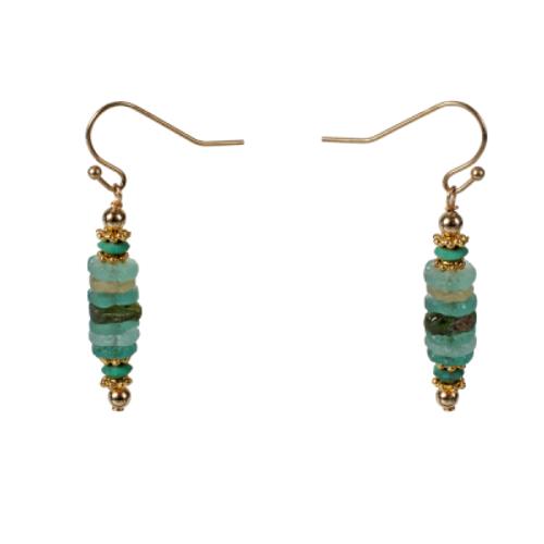 Roman Glass Disk Earrings