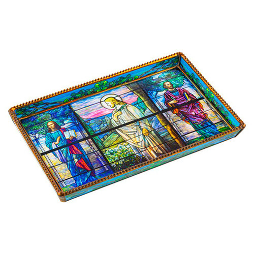 Easter Morning and the Four Evangelists by Tiffany Rectangular Tray 10x6