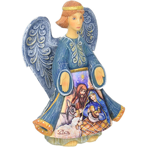 Angel with Nativity Scene Figurine