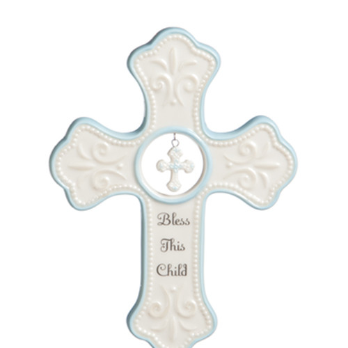 Bless This Child Porcelain Wall Cross - Blue