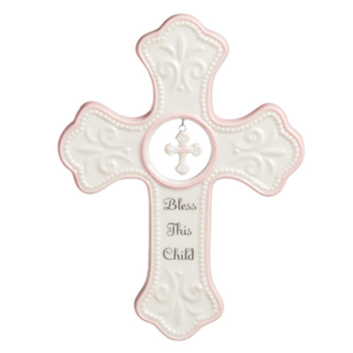 Bless This Child Porcelain Wall Cross - Pink