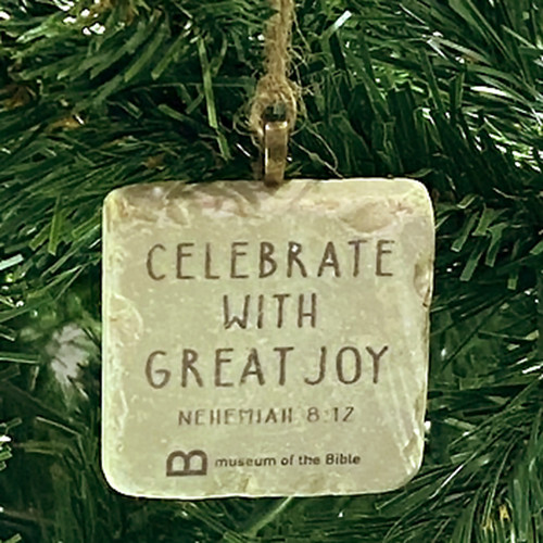 Celebrate with Great Joy Stone Ornament