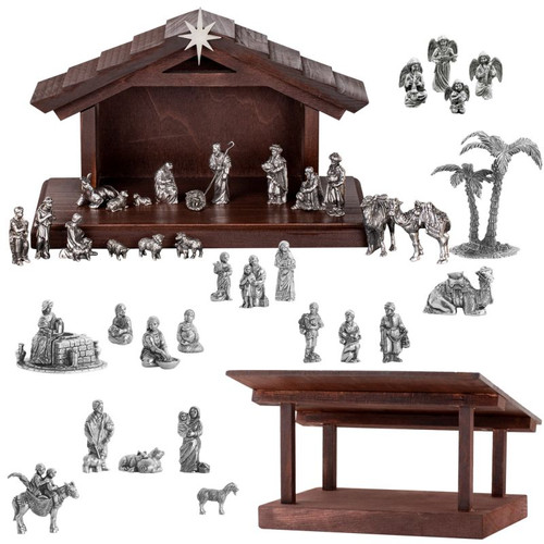 Complete Pewter Nativity Set with Creche and Stable 42 pcs