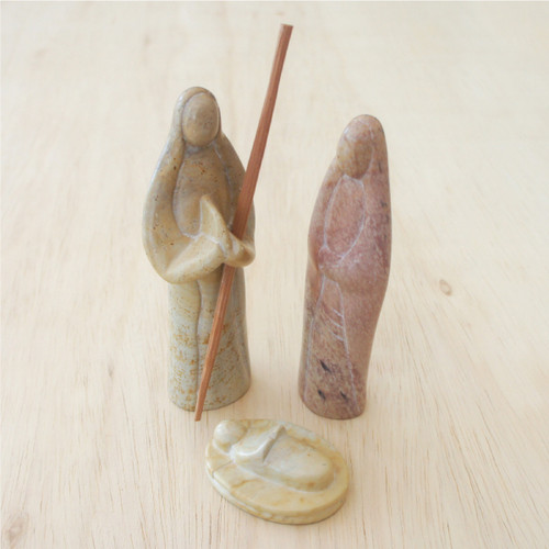 Natural 3 Piece Soapstone Nativity Set - Kenya