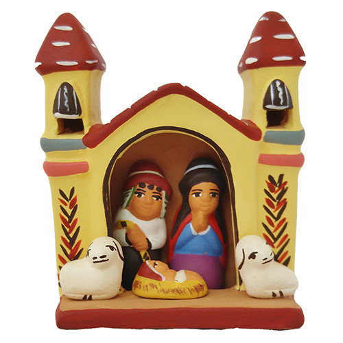 Yellow Church Ceramic Nativity - Peru
