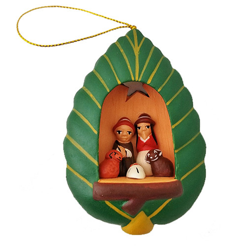 Green Leaf Nativity Ornament - Peru