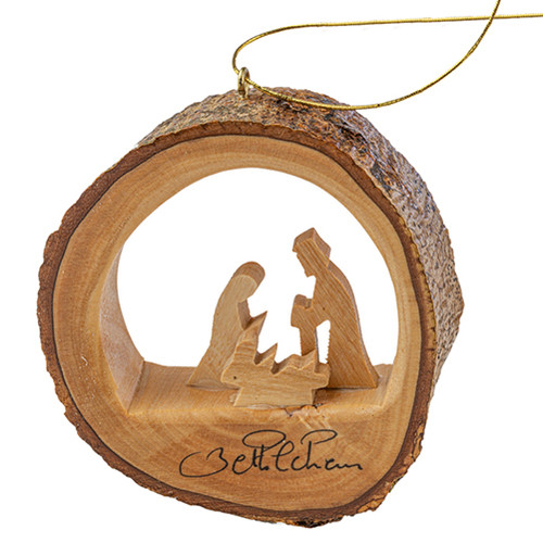 "Olive Wood Round Holy Family Ornament 3"" - Bethlehem"