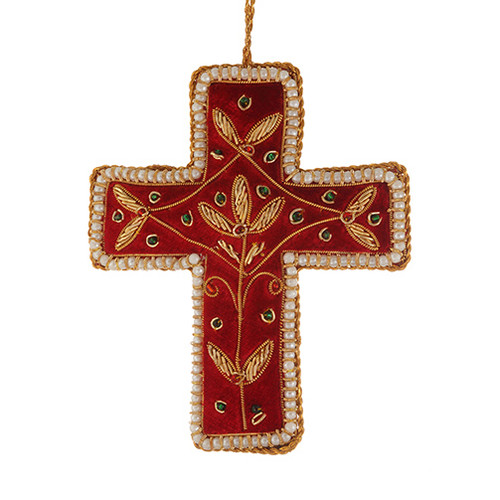 Red Velvet & Pearl Cross Ornament - India