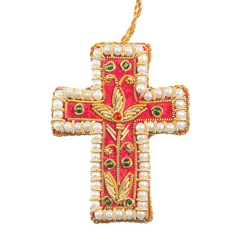 Mini Red Cross & Pearls Ornament - India