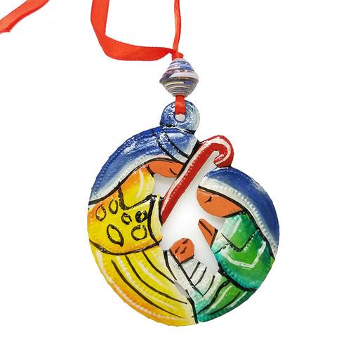 Painted Circle Nativity Ornament - Haiti