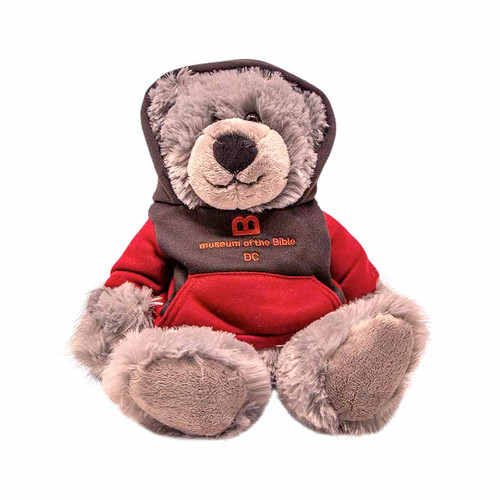 """MOTB 8"""" Gray Bear with Red and Black Hoodie"""