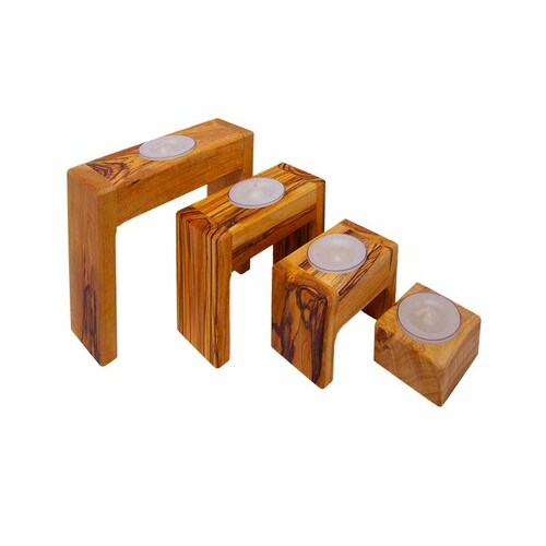 Olive Wood Candle Holders (Set of 4)