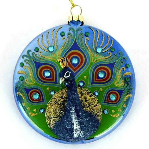 MOTB Round Peacock Glass Ornament