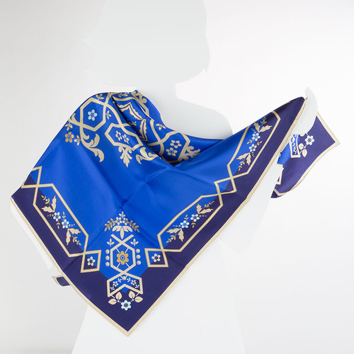 100% Silk Blue Challah Cover Scarf