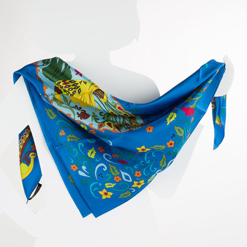 100% Silk Blue Esther Scroll Scarf