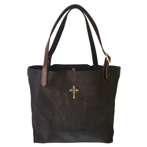 "15"" Canvas & Leather Cross Body Tote"