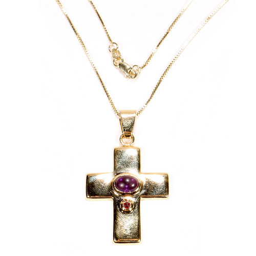 Cross Pendant with Ruby and Amethyst in 14K Yellow Gold