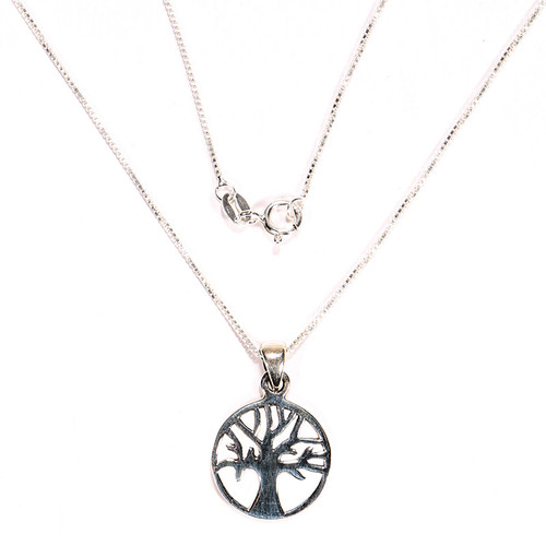 Encircled Tree of Life Pendant, Sterling Silver