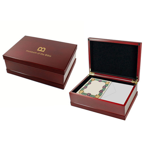 Rosewood Stationery Storage Box with Notecards Set