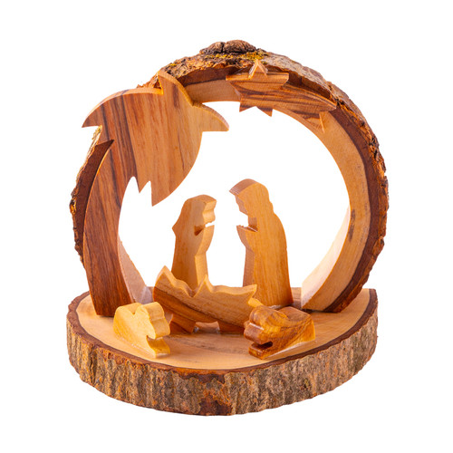 Olive Wood Grotto Shelter Nativity