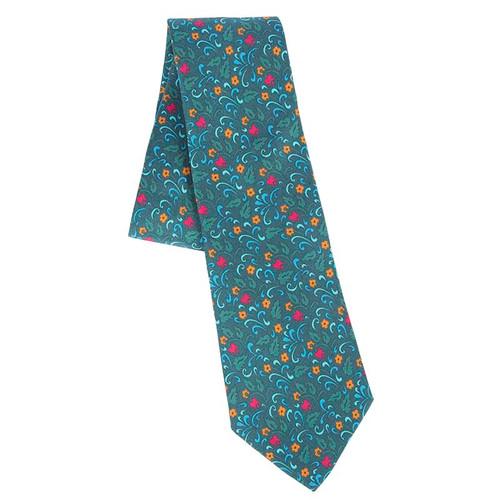 100% Silk Blue Esther Scroll Tie