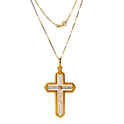 Israel Diamond Cut Cross in 14k Yellow Gold and White Gold