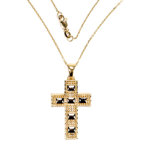 Barred Mesh Cross in 14k Yellow Gold and White Gold
