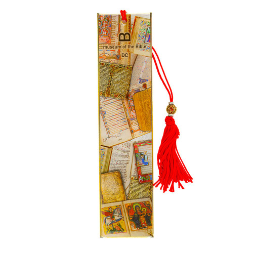 Artifact Line Metal Bookmark with Red Tassel