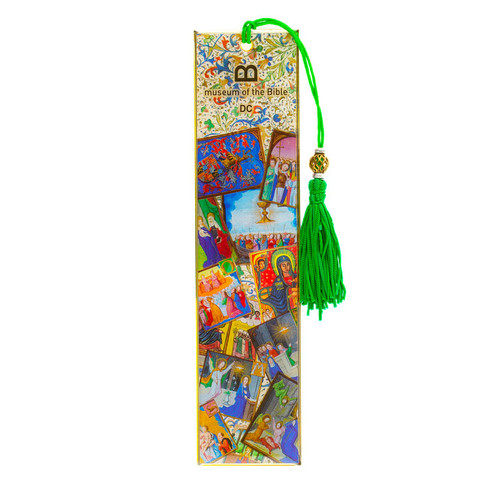Artifact Line Metal Bookmark with Green Tassel