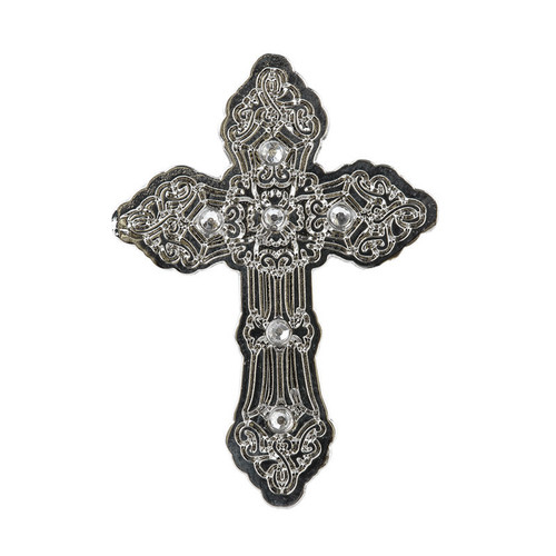 Silver Cross With Stones Pin