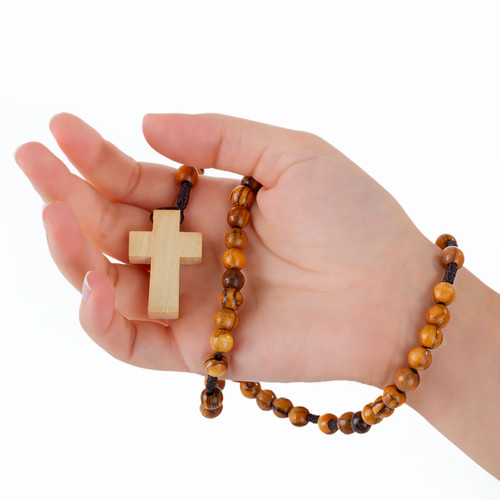 Olive Wood Rosary With Light Wood Cross | Museum of the Bible