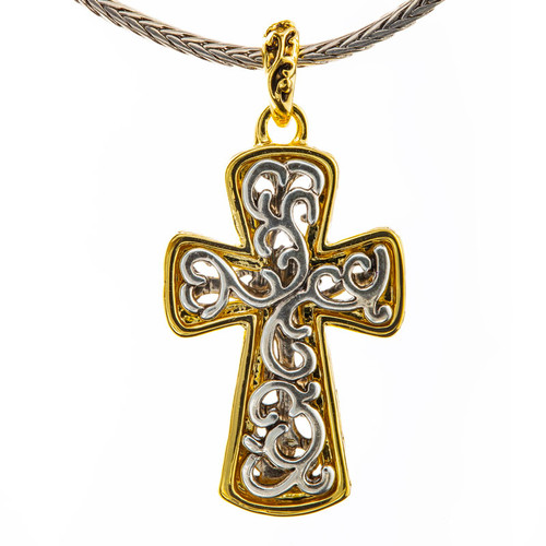 Scrolled Cross Necklace in Silver & Gold | Museum of the Bible