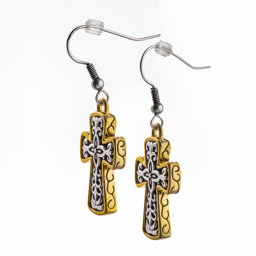Scrolled Cross Earrings in Silver & Gold | Museum of the Bible