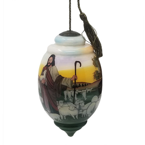 Jesus And Sheep Hand Painted Ornament | Museum of the Bible
