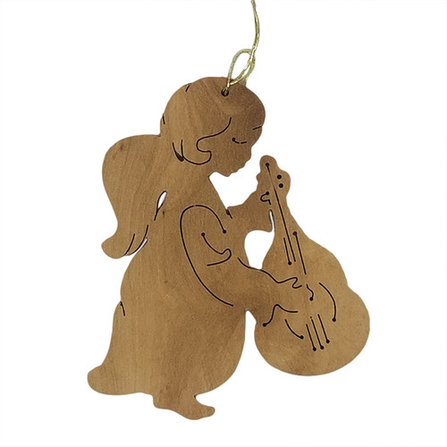 Olive Wood Angel With Instrument Ornament   Museum of the Bible