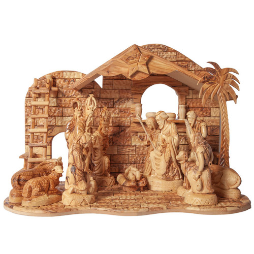Large Olive Wood Nativity Set | Museum of the Bible