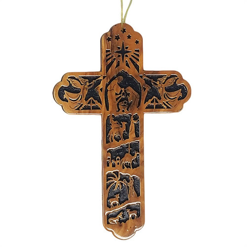 Olive Wood Nativity Cross Ornament | Museum of the Bible