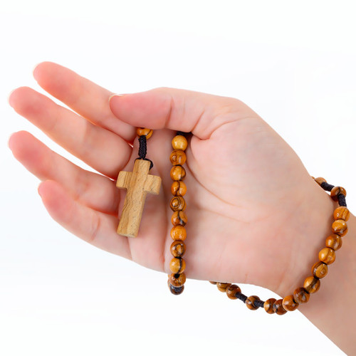 Olive Wood Rosary With Wood Cross | Museum of the Bible