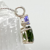 Natural Moldavite with Tanzanite set in Sterling Silver