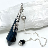 Blue Tiger's Eye Pendulum with 990 Silver