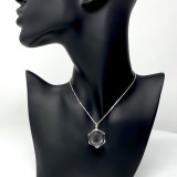 Clear Quartz Crystal Sphere Pendant, 60 Facets Set in Silver, small